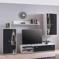 Schwarz Weißes Wohnwand Set günstig online kaufen   Worker 4 teilig
