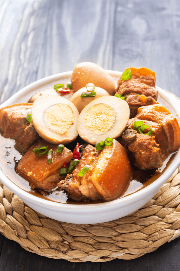 Pork belly and egg in a pot
