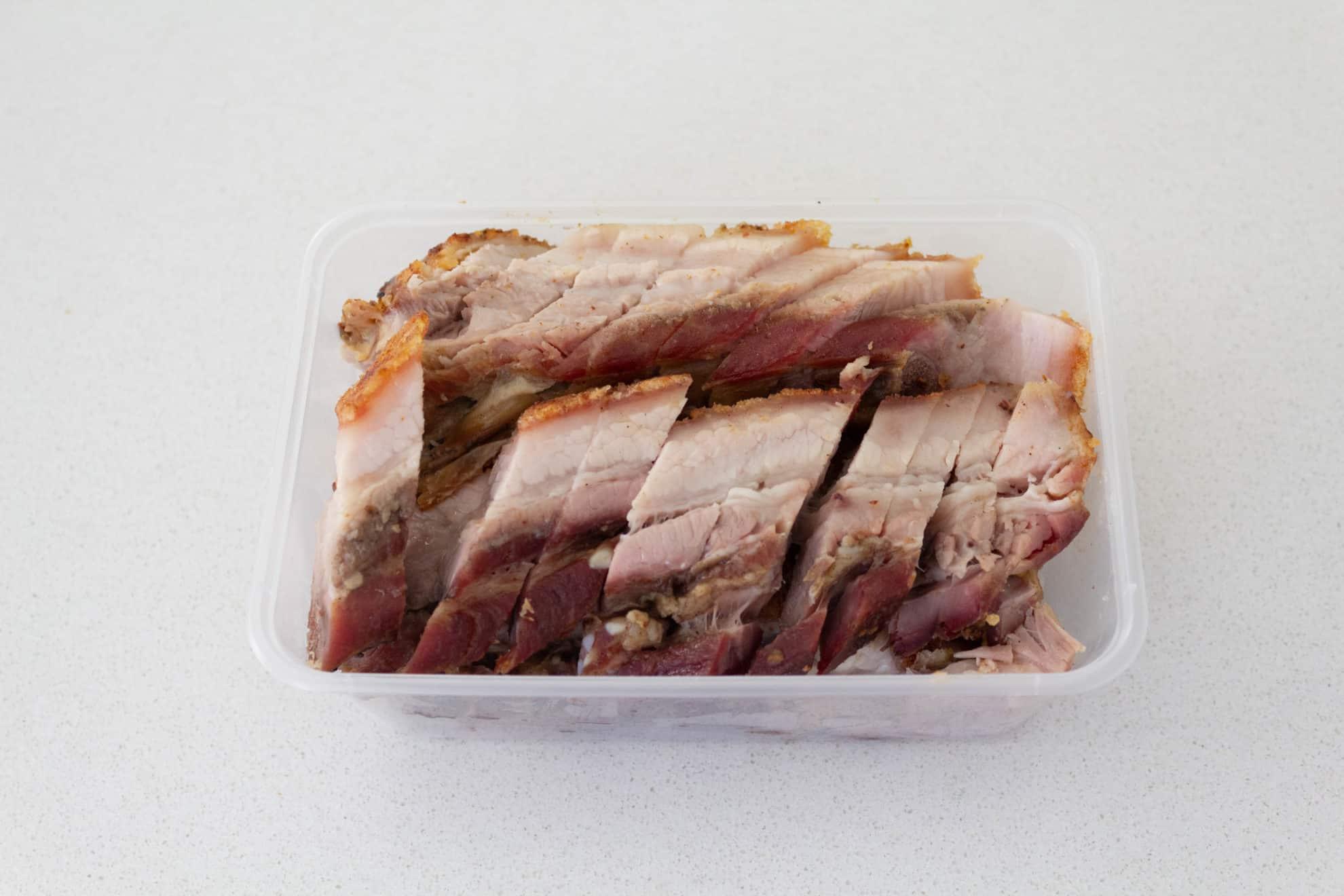 crackling pork used for crispy pork belly with Asian greens stir fry recipe