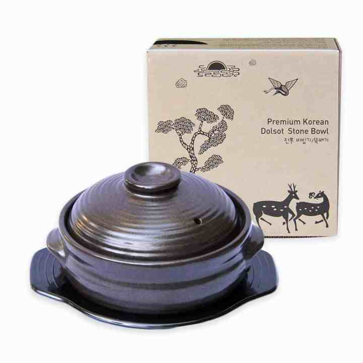 Crazy Korean Cooking Korean Stone Bowl (Dolsot), Sizzling Hot Pot for Bibimbap and Soup - Premium Ceramic (Medium with Lid)