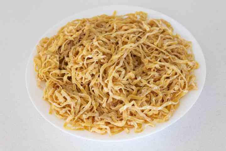 Egg noodles on a plate