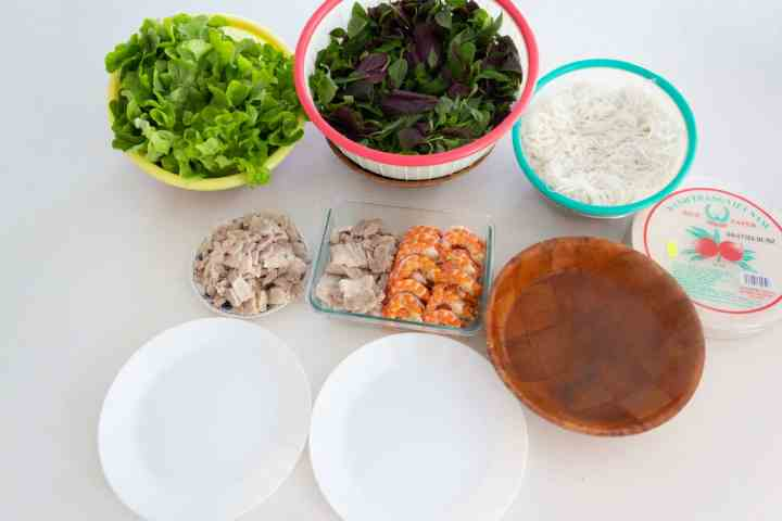 Countertop with lettuce, greens, rice noodles, prawns, pork, rice paper, plates and boiling water