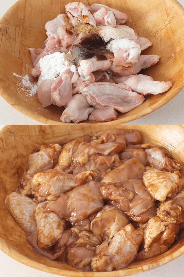 Seasoning on chicken and marinated chicken