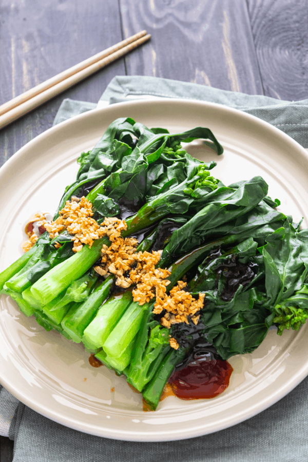 Chinese brocolli with oyster sauce and garlic on a plate