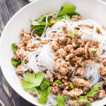 Pork mince and noodles in a bowl