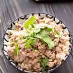 Pork mince and rice in a bowl