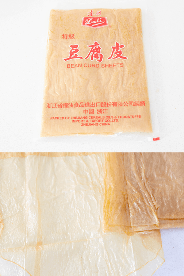 Bean curd sheets packaged and out of packet