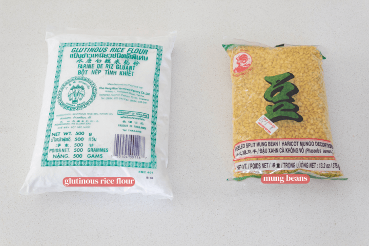 Glutinous rice flour packet and mung beans packet
