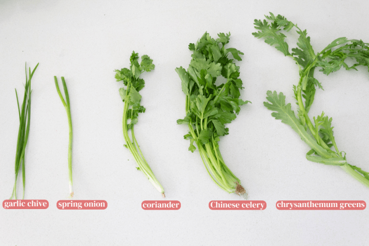 Garlic chive, spring onion, coriander, Chinese celery and chrysanthemum greens