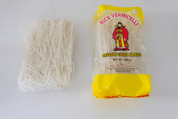 Thin rice vermicelli in and out of the package