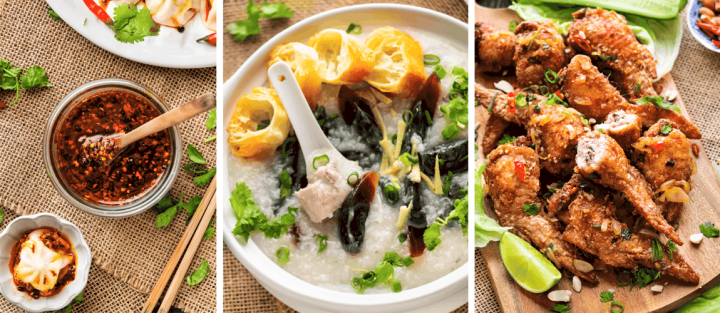Chili oil, century egg congee and stuffed chicken wings