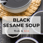 Black sesame soup in bowls with spoons