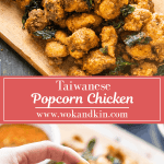 Taiwanese Popcorn Chicken on a board above a hand holding a piece of popcorn chicken