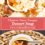A large spoon in Snow Fungus Soup above two bowls of Snow Fungus Soup with spoons in them