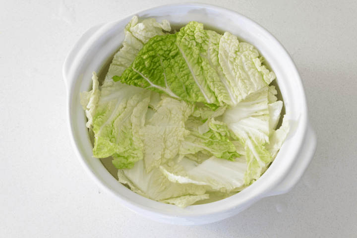 Chinese cabbagge pieces in a pot