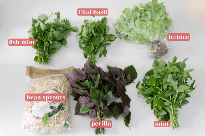 Vietnamese herbs in bundles