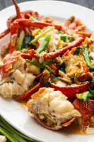 Ginger Scallion Lobster on a plate.