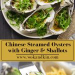 Steamed oysters with ginger and shallots on a plate above a fork holding up an oyster