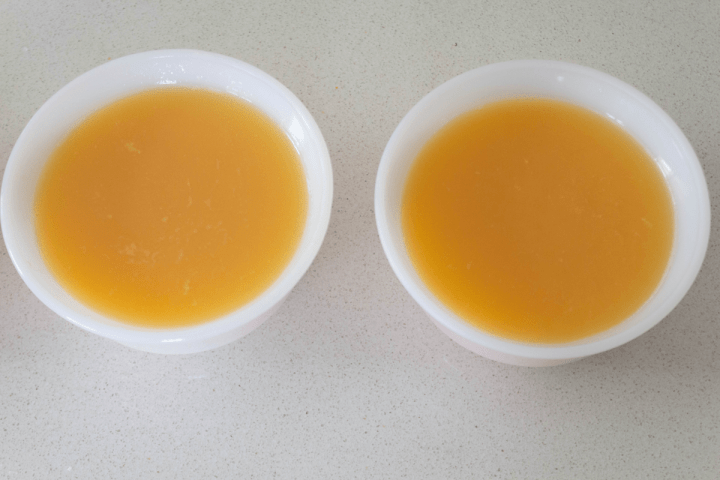 Uncooked egg pudding in bowls