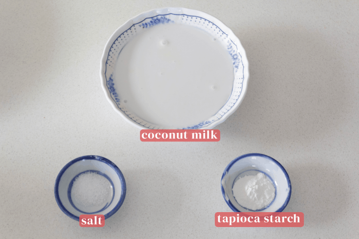 Coconut milk in a bowl along with salt and tapioca starch in dishes.
