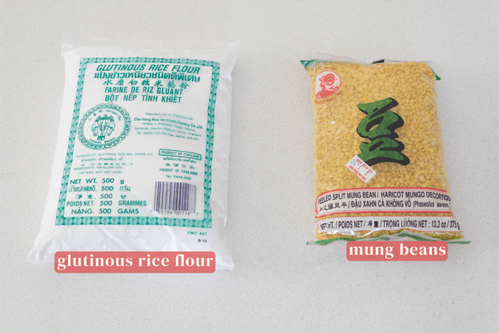 A packet of glutinous rice flour and a packet of mung beans.