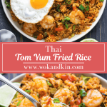 Tom Yum Fried Rice on a plate with a fried egg on it and a wedge of lemon above a plate of fried rice with a spoon scoopful of rice.