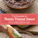Hoisin Peanut Sauce in a bowl above a rice paper roll dipping into Hoisin Peanut Sauce.