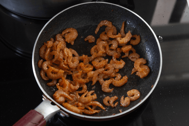 Rehydrated shrimp in a pan.