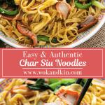 Char Siu Noodles on a plate with chopsticks alongside Char Siu Noodles grabbed by chopsticks.