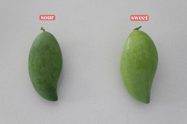 Sour and sweet green mangoes.