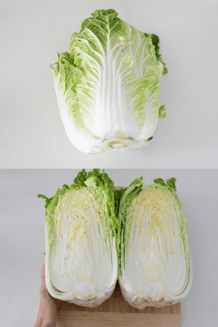 Chinese cabbage whole and halved.