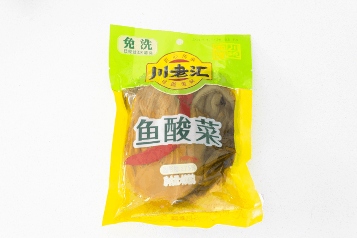 Pickled mustard greens in a package.