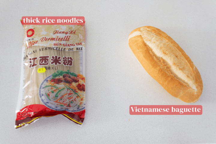 Rice noodles in a packet along with a Vietnamese baguette.