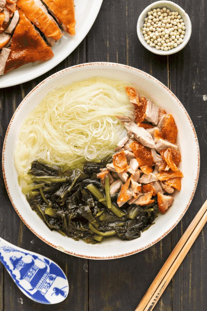 Roast Duck Noodle Soup in a bowl.