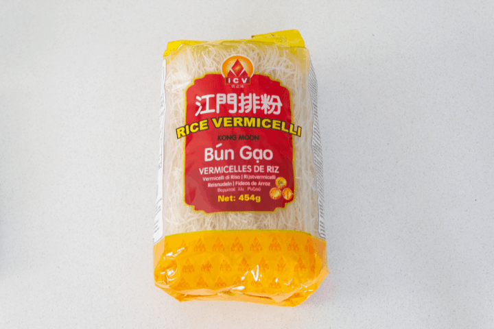 Rice noodles in a packet.