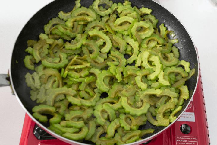 Bittermelon in a pan.