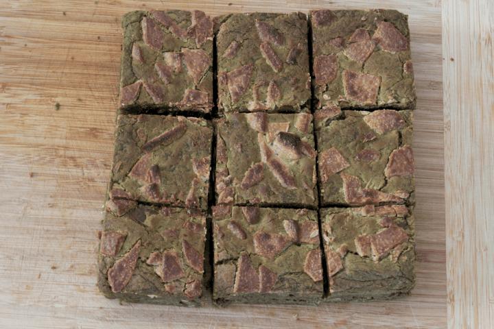 Matcha Brownies cut into 9 pieces.