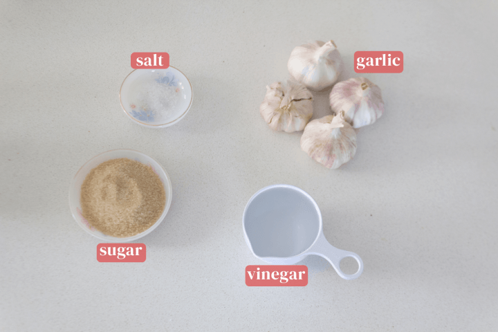 Four cloves of garlic along with dishes of sugar and salt and a measuring cup of vinegar.