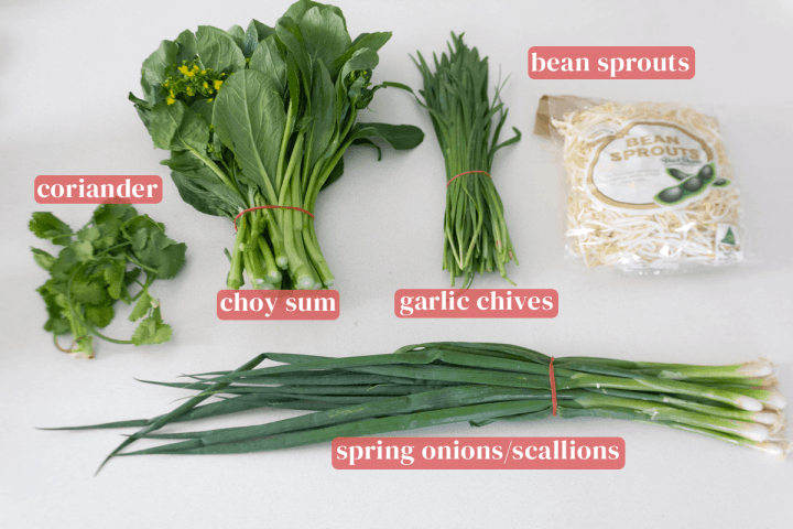 Bundles of spring onions, garlic chives, choy sum and coriander along with a bag of bean sprouts.