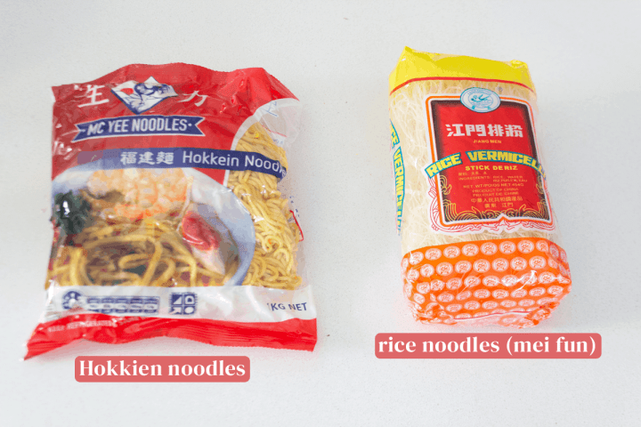 Bags of Hokkien and rice noodles.