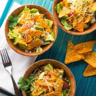 Taco Salad with Nacho Cheese Tortilla Chips