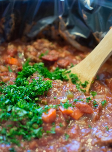 bolognese with parsley