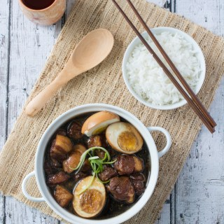 Tau Eu Bak (Pork Belly Braised In Soy Sauce) is a popular and well-loved dish among the Malaysian Chinese community. Tender pork belly slowly braised in a light soy sauce broth with a hint of garlic.