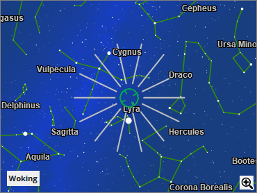 Labelled constellation of Lyra with white lines outward from centre.