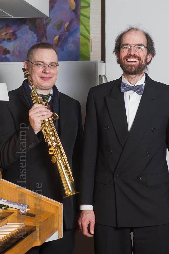 Guido Neumann und Arne Tigges mit Saxophon und Orgel. Foto: A. Hasenkamp, Fotograf in Münster.
