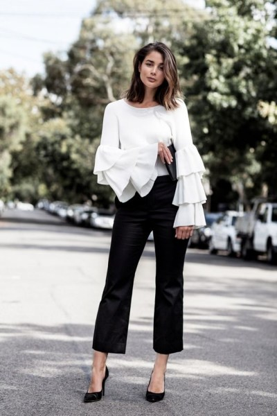 White ruffle blouse | Wolf & Stag
