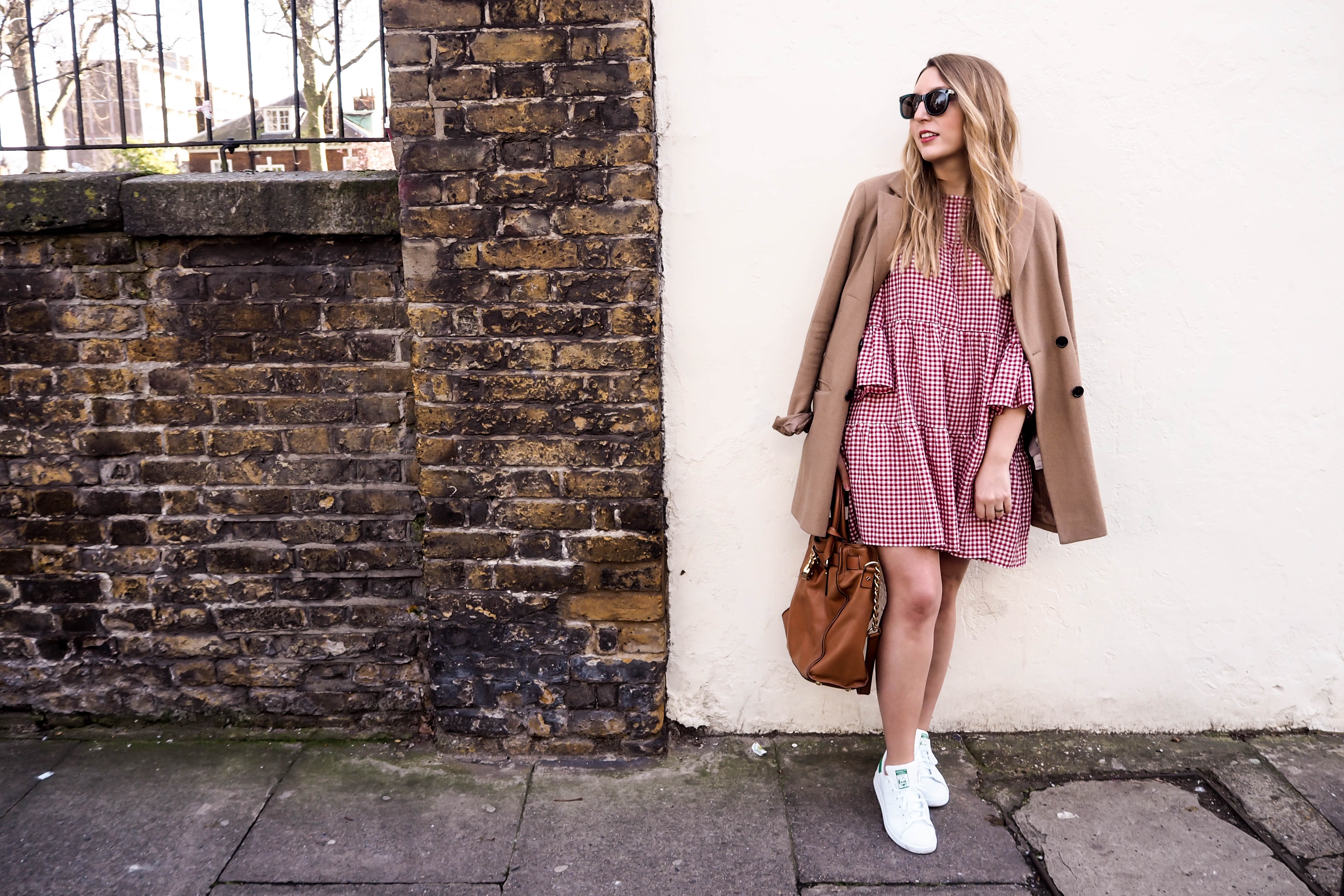Zara gingham dress | Michael Kors satchel | Adidas white trainers | ASOS coat | Wolf & Stag