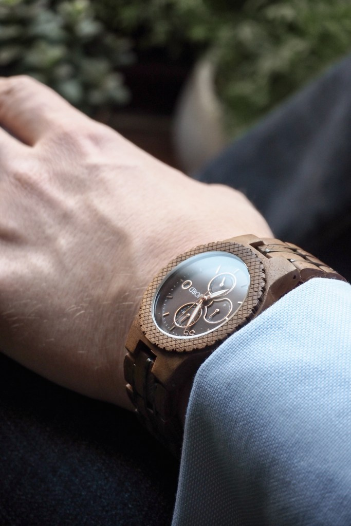 Man in blue shirt wearing JORD wooden Conway watch