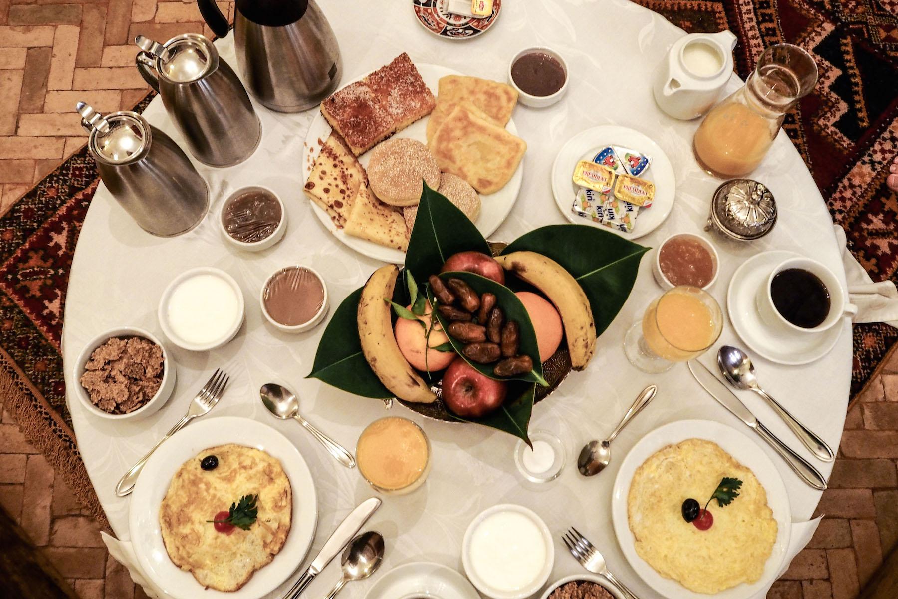 Breakfast at the Riad Kniza, Marrakech
