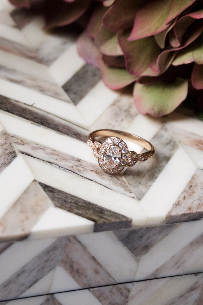 Rose-gold engagement ring with halo diamonds and leaf shoulders Life Update: Engaged, Thirty, Move   How NOT to do huge life events in 1 month   Wolf & Stag